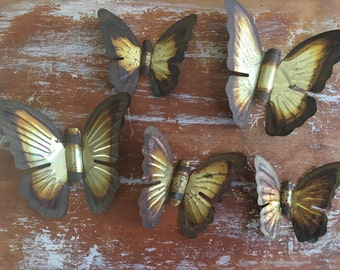 Vintage Collection Of 5 Brass Butterflies