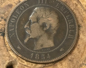 Antique FRENCH NAPOLEON Brooch   - Coin Brooch FRANCE 1854  vintage No.00533