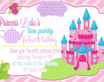 Princess Tea Party birthday invitation l Tea party l Polka Dot l 5x7 I Instant Download I Print at home