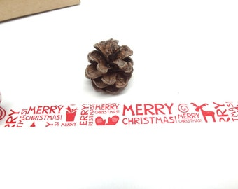 FREE SHIPPING - Merry Christmas Washi Tape, Christmas Washi Tape - Dark Red version