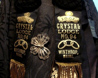 Antique Odd Fellows Black Silk Lodge Ribbons Gold Bullion Fringe 95 dollars each at Gothic Rose Antiques