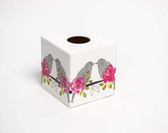 Love Birds Tissue Box Cover wooden handmade