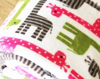 Stroller Blanket Double Sided Minky Cuddle - Blue Green or Pink Green Giraffes