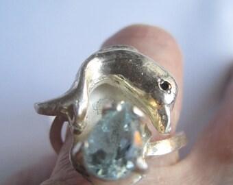 Silver Dolphin Ring ./. Aquamarine Ring ./. Bague Dauphine ./. OOAK Artisan Ring ./.  Cast Silver Ring ./. Black Diamond ./. Statement Ring