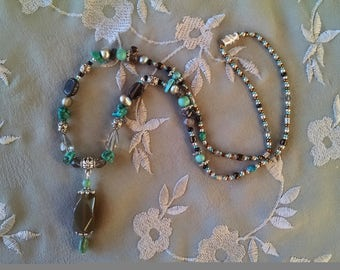 turquoise necklace with silver freshwater pearl, brown agate and smoky quartz
