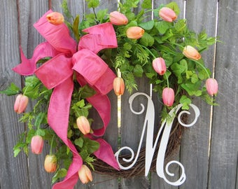 SPRING Wreath, Spring Tulip Wreath with Monogram, Pink Wreath, Wedding Decor, Mother's Day Wreath, Door Wreath, Spring has Sprung Wreath