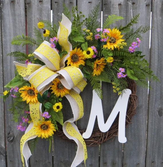 Wreath, Spring / Summer Wreath,  Wreath for Spring and Summer, Wreath with Monogram, Wreath with Burlap Bow, Housewarming Gift