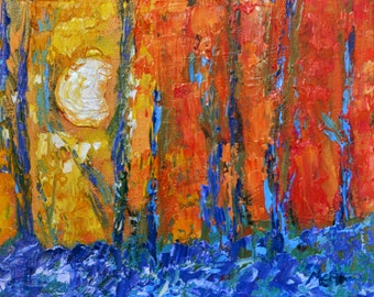 Woodland First Light - Original Oil Painting Landscape Painting Woodland  series  by Claire McElveen - Available  Framed Ready To Hang