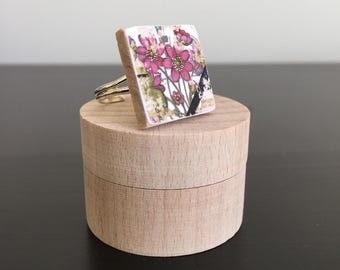 Flower ring scrabble tile ring statement ring