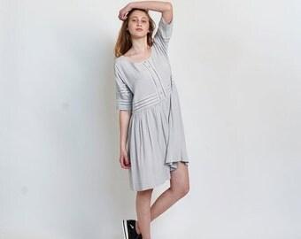Pre Winter Sale 15% Placket Eyelet midi dress ,Silver.