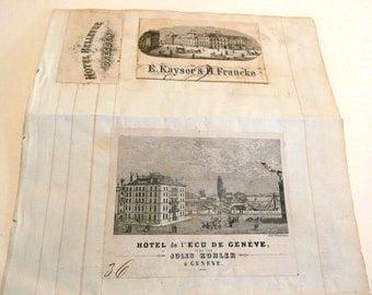 Antique 19th century European Hotel Engraved Pictorial Bill Letterheads Graphic History Grand Tour Paper Ephemera