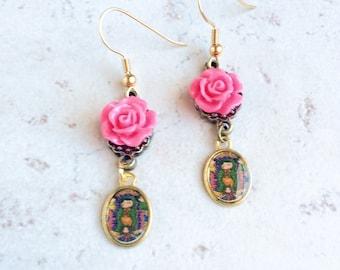 Pink Flower Virgin Mary Earrings, Religious Playful Flower Earrings