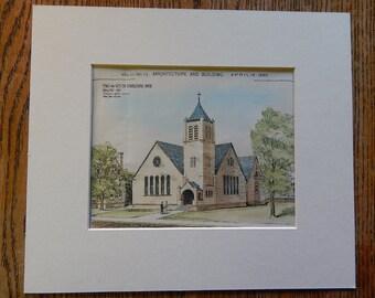 West End Congregational Church, Bridgeport, Connecticut, 1890. Stephenson & Greene, Architects. Hand Colored, Original Plan. Architecture