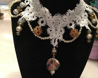 White choker necklace, white lace choker, pale amber crystals, pearls, pale yellow pearls, silver beads, vintage style , gothic, steam punk