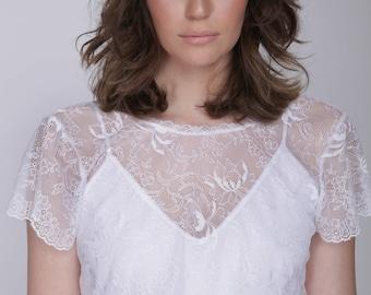 Lace wedding dress, beach wedding, boho wedding dress, lace top wedding boho wedding dress, Barzelai wedding dress