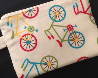 Colorful Bicycles Zippered Pouch with Swivel Clasp - coin purse, knitting notions case, stocking stuffer, bike gift