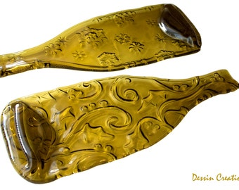 TWO Christmas Wine Bottle Cheese Trays,  Spoon Rest, Melted Wine Bottle, House Warming Hostess Gift,  Dessin Creations