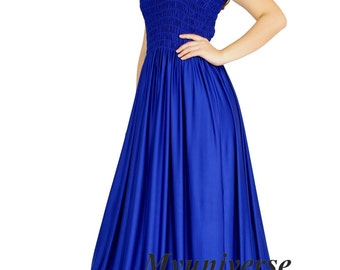Royal Blue Evening Dress Formal Gown Gala Maxi Dress Bridesmaid Women Plus Size Clothing Gala Long Hawaiian Dress Summer Full Length Summer