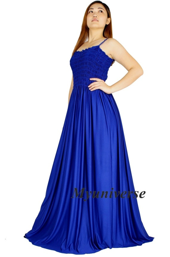 Royal blue evening dress formal gown gala maxi dress for Hawaiian wedding dresses with sleeves