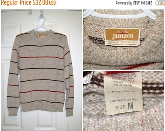 "Vintage JANTZEN 1960s Men's Striped Crew Neck Sweater / 38"" Chest Unstretched / CLEAN / Free US Shipping"