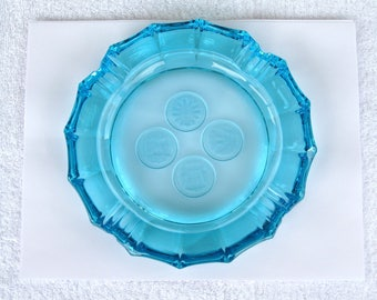 "Large Fostoria Capri Blue Frosted Coin Glass Ashtray / 8"" Across / Excellent Condition / Gorgeous"