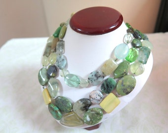 Polished Stone Bead Green Multi-layered Necklace