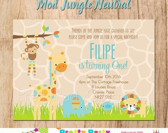 MOD JUNGLE NEUTRAL baby shower/birthday invitation - You Print