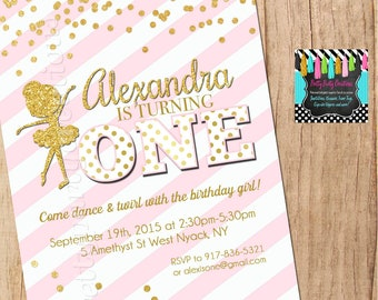 PINK and GOLD BALLERINA invitation - You Print
