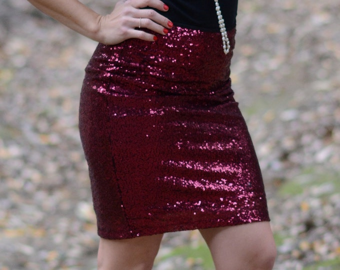 Wine Pencil Sequin Skirt - 22 inches - Stretchy, beautiful knee length skirt (Small, Medium, Large, XLarge) Ships asap!