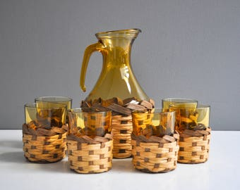 Vintage Amber Glass Pitcher with Matching Tumblers with Basket Weave Cup Cozies