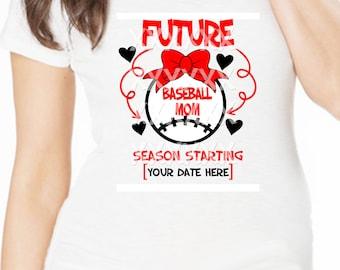 "Maternity Tee Baseball mom to be ""Future Baseball Mom"" sports short sleeve maternity tee shirt pregnancy annoucement tee shirt"