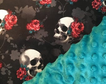 Skull baby car seat canopy, skulls, roses, carseat cover, gothic, rockabilly, baby girl, baby boy, baby shower gift