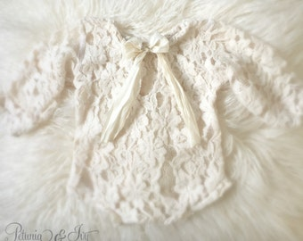 Newborn Plush Lace Cream Peasant Romper, Baby Girl, Romper, Sweater Knit, Lace, Photography Prop, Ready to Ship, Stretch Headband