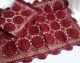 2 Vintage Crocheted Pillow Cover Large Pillowcase Handmade Burgundy