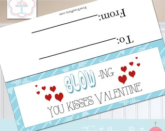 Valentine card Blowing you kisses bag tag