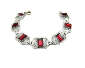 Art Deco Silver Filigree Red Glass Bracelet - Rhodium Plated, Ruby Red, Art Deco Jewelry, Antique Jewelry