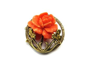 Coral Celluloid Flower Brooch, Brass Flower Pin, Carved Roses Gold Brass Brooch, 1920's Jewelry