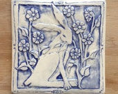 Rabbit with flowers porcelain tile for wall hanging or installation 6x6 inch