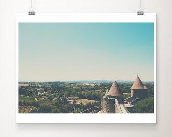Carcassonne photograph Carcassonne print castle photograph castle print France photograph landscape photography French decor