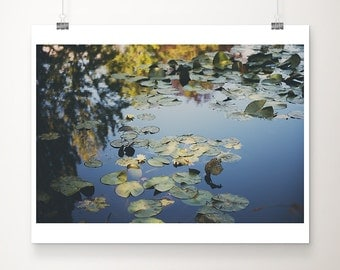 Giverny photograph yellow lily photograph lily pond photograph Monets garden print travel photography water reflection photo