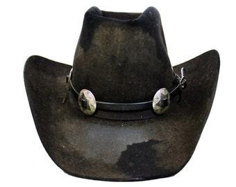 Vintage Black Stetson Cowboy Concho Hat