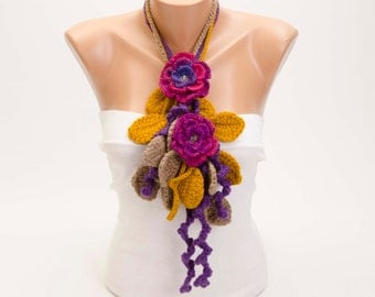 Crochet  necklace scarf , crochet lariat scarf ,crochet jewelry  scarf,gift