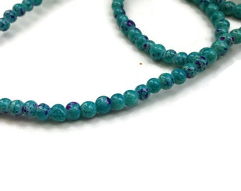 100 Mottled Glass Beads, Two Tones Beads, Purple Blue Glass Beads, 4mm Imitation Regalite Jasper Beads, G 50 039