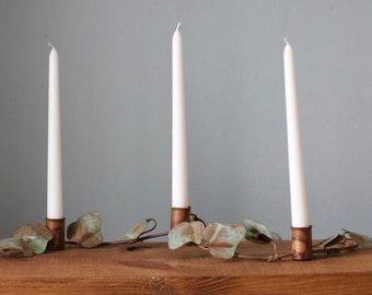 Vintage Copper Patina Ivy Candle Holder Centerpiece