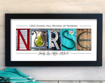 NURSE Nursing School Graduation Gift in  Alphabet Letter Photography  Personalized Print with Name and School