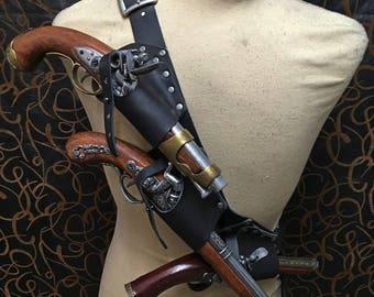 Pirate baldric holster kit  for 3 flintlock pistol with scabbard option for latex sword