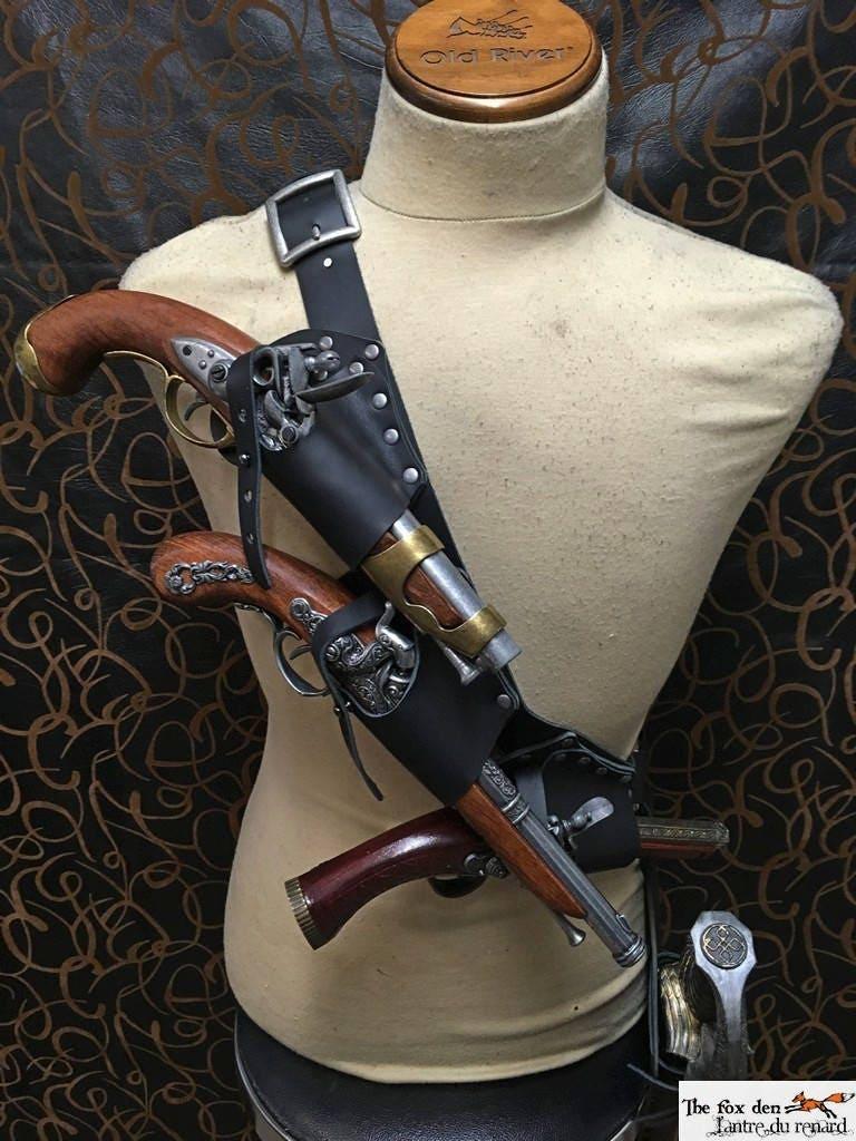 Pirate baldric holster kit for 3 flintlock pistol with