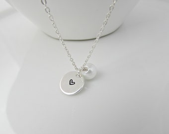Pearl Necklace, Hand Stamped Heart Necklace, Bridesmaid Gifts, UK Seller, Gifts for Bridesmaid, Pearl Bridal Jewellery, Valentine Gifts