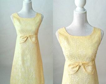Vintage Dress, 1960s Lace Dress, Vintage Lace Dress, 60s Lace Dress, Beige Lace Dress, Vintage Beige Dress, 1960s Yellow Dress, 60s Yellow
