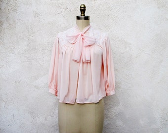Vintage Bed Jacket, Pink 50s Lingerie, Nylon and Lace, Short 50s Top